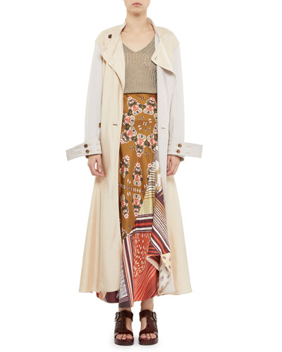 Fluid Twill Ankle-Length Trench Coat