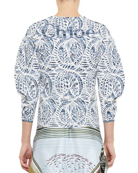 Chloe Ceramique Jacquard 3/4-Sleeve Sweater