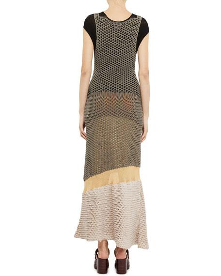 Chloe Short-Sleeve Tiered Mesh Maxi Dress