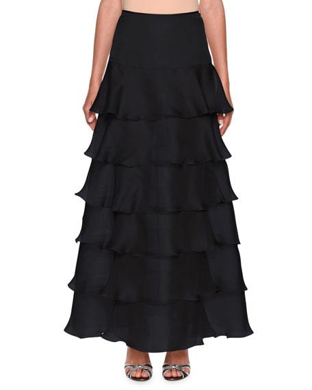 Giorgio Armani Tiered Silk-Organza Ruffle Skirt
