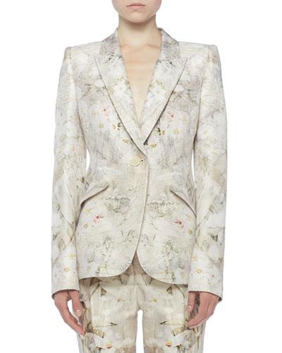 Ophelia Print Wool-Silk Blazer