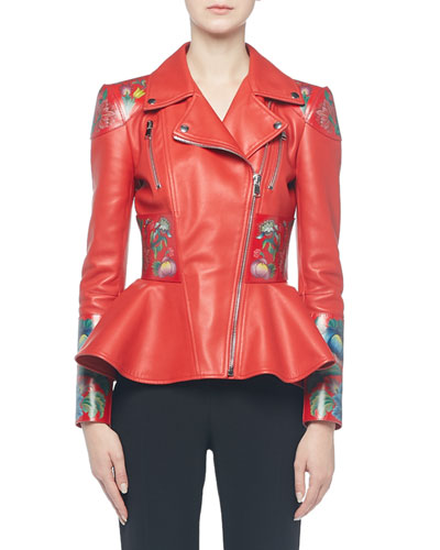 Flower-Print Leather Moto Jacket
