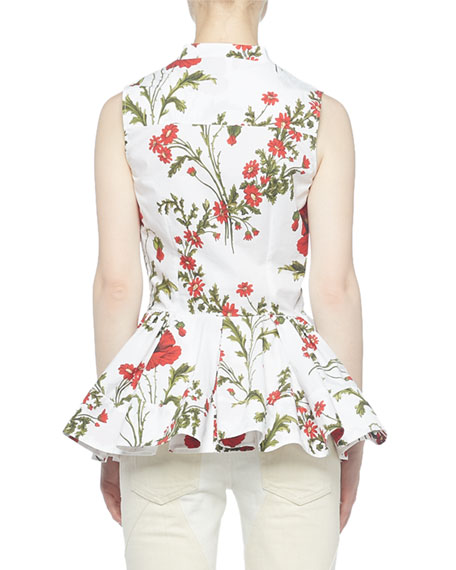 Alexander McQueen Sleeveless Poppyfield Cotton Blouse
