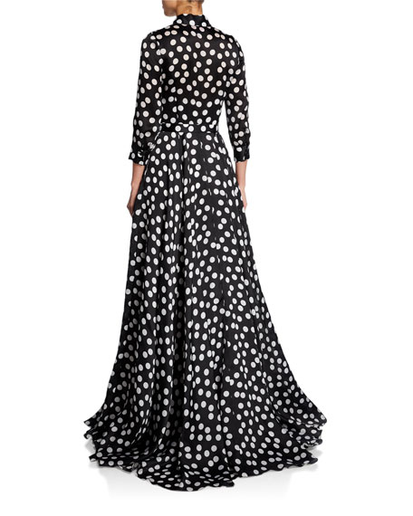 Carolina Herrera Polka-Dot Full Trench Gown