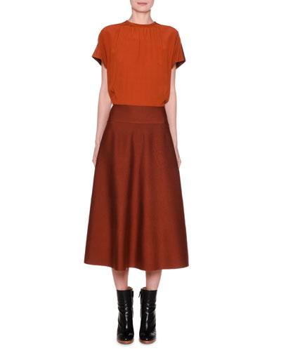 Silk Cap-Sleeve Blouson Midi Dress