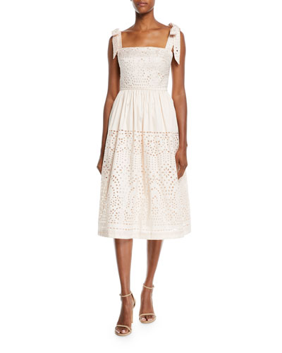 Bow-Strap Eyelet-Embroidered Taffeta Dress