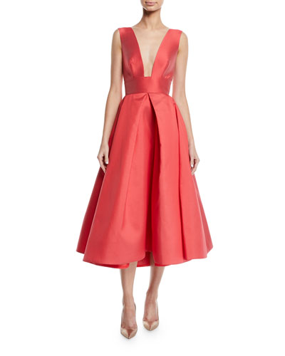 Deep V-Neck Sleeveless Mikado Gown