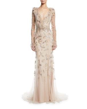 0edbac5d98a Monique Lhuillier Long-Sleeve Deep V-Neck Gown
