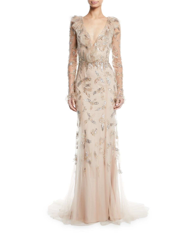 17a3a7d6684 Monique Lhuillier Long-Sleeve Deep V-Neck Gown