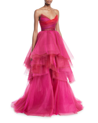 Sweetheart Strapless Asymmetric Gown