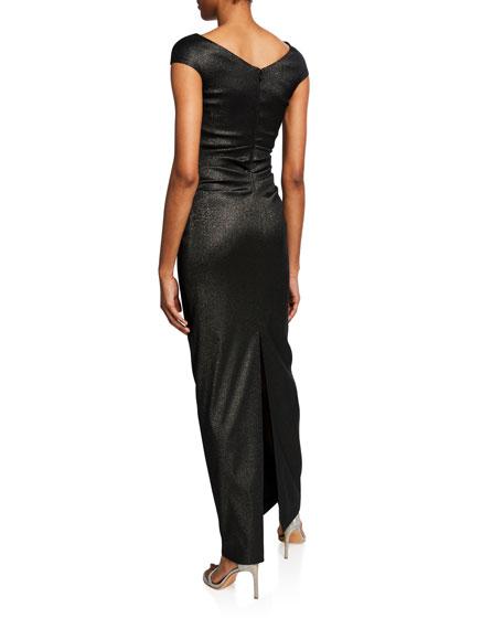 Talbot Runhof Roya Draped-Waist Asymmetric Gown