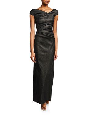 4d5806e0a47 Talbot Runhof Roya Draped-Waist Asymmetric Gown