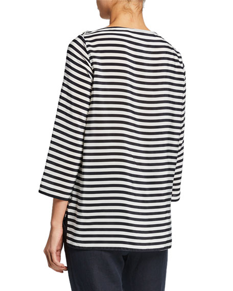 Maxmara Semele 3/4-Sleeve Striped Jersey Top