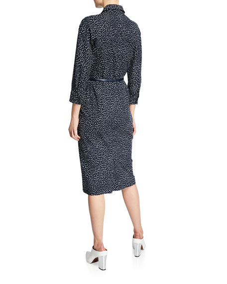 Image 2 of 2: Vicky Polka-Dotted Belted Shirtdress