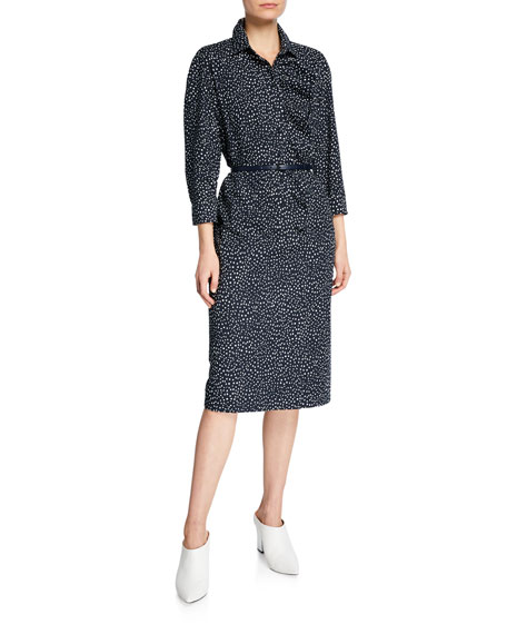 Image 1 of 2: Vicky Polka-Dotted Belted Shirtdress