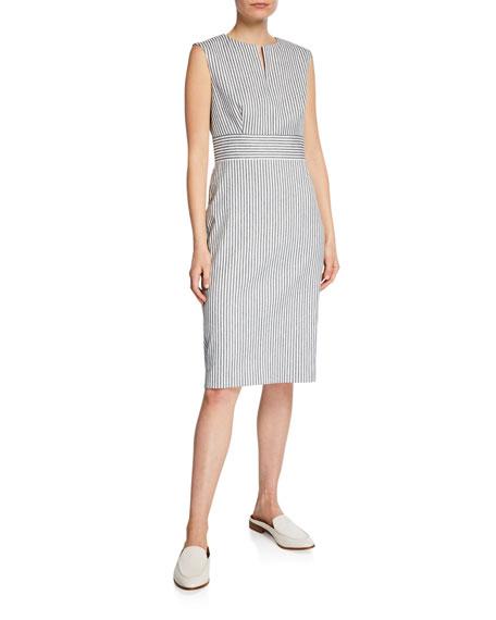 Maxmara Caraffa Ticking-Striped Sheath Dress