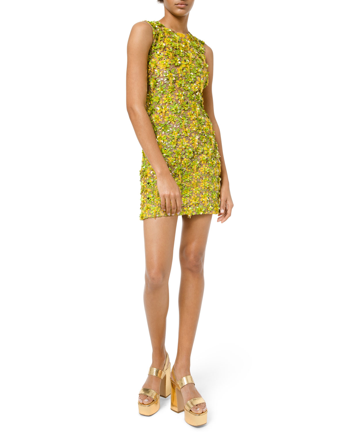 37970551f45 Michael Kors Collection Daisy Lime Embellished Sleeveless Dress ...