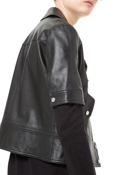 Michael Kors Collection Short-Sleeve Plonge Leather Moto Jacket