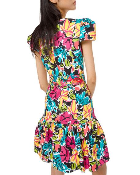 Michael Kors Collection Ruffled Modern Floral Sateen Dress