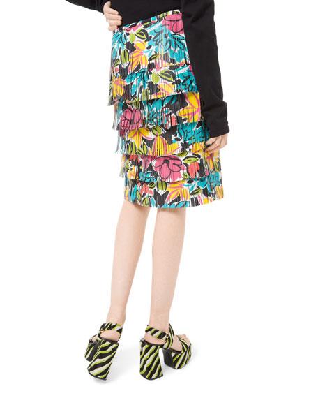 Michael Kors Collection Modern Floral Fringe Leather Skirt