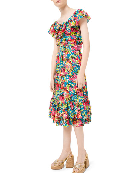 Michael Kors Collection Aquatic Sealife Crushed Silk Georgette Dress