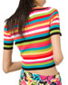Michael Kors Collection 1/2-Sleeve Multi-Striped Ribbed Crewneck Tee