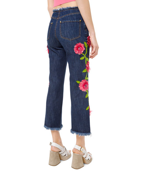 Michael Kors Collection Cropped Floral-Embellished Jeans