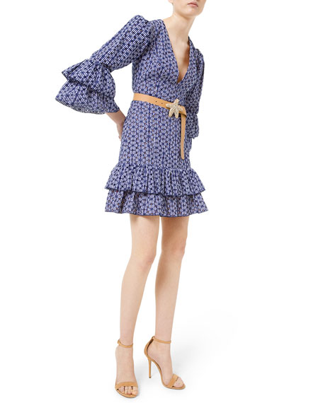 Michael Kors Collection Gingham Floral Eyelet Tiered Dress
