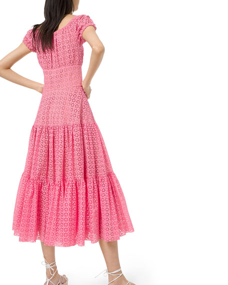 Michael Kors Collection Tiered-Cotton Eyelet Embroidered Cap-Sleeve Dress