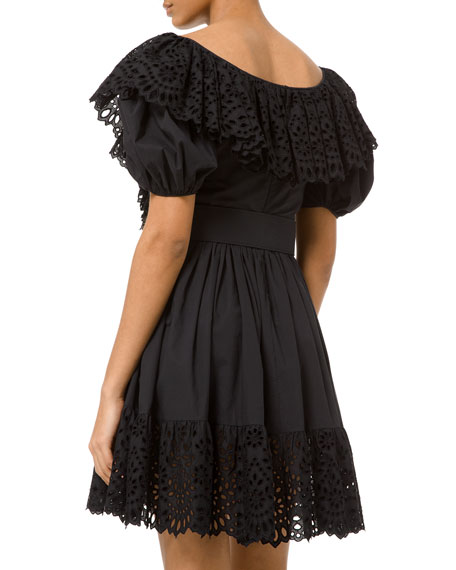 Michael Kors Collection Cotton Poplin Puff-Sleeve Belted Dress