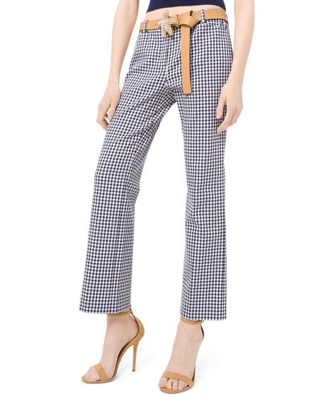 Michael Kors Collection Gingham Stretch-Cotton Trousers