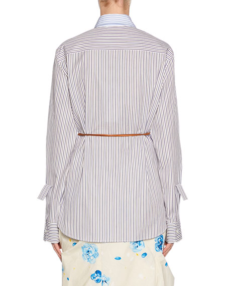 Marni Long-Sleeve Multi Striped Button-Front Shirt