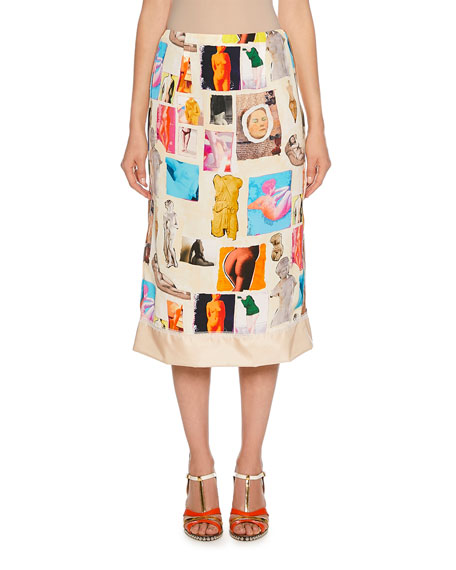 Marni Art Collage Print Midi Skirt