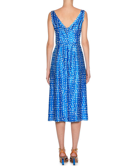 Marni V-Neck Polka-Dot Dress