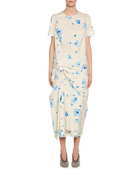 Marni Painted Flower-Print Short-Sleeve Poplin T-Shirt