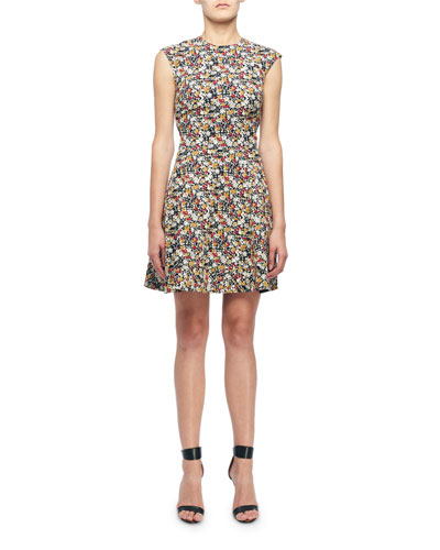 Sleeveless Mini floral-Print Fit & Flare Dress