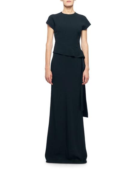 Victoria Beckham Cap-Sleeve Draped Waist Asymmetric Dress