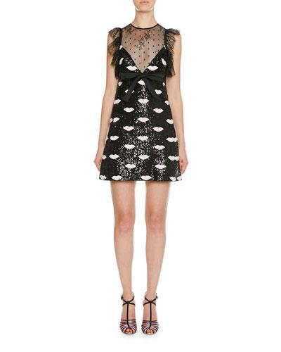 Lace Trim Lip-Embroidered Sequin Mini Dress