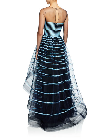 Ahluwalia Grace Ribbon-Striped Illusion Gown