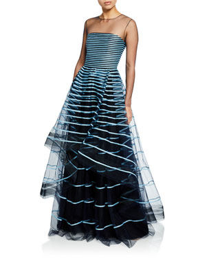 02f63d2aac7 Ahluwalia Grace Ribbon-Striped Illusion Gown