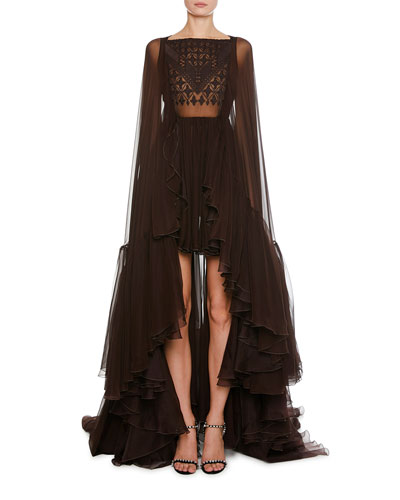 Mosaic-Embroidered Cape-Back High-Low Tulle Gown