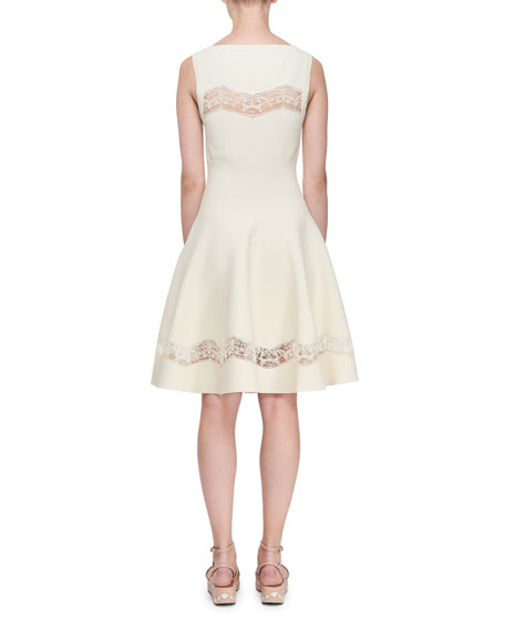 ALAIA Raffia-Embroidered Sheer Panel Dress, White