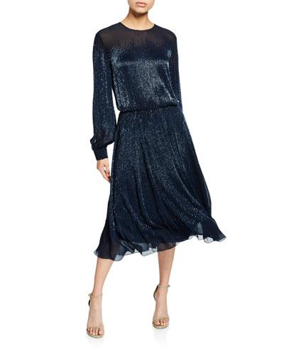 Emily Sheer Balloon-Sleeve Cocktail Dress