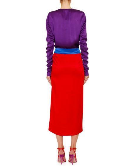 The Attico Bicolor Crepe and Satin Enverse Wrap Dress