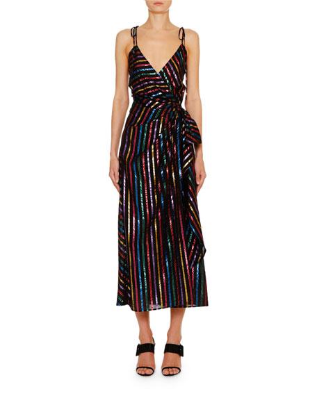 The Attico Rainbow-Striped Wrap-Front Midi Dress