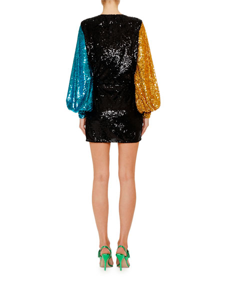 The Attico Long-Sleeve Sweetheart-Neck Sequin Mini Cocktail Dress