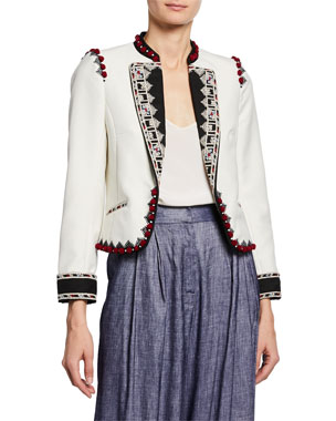 a12e09d60b Talitha Collection Moroccan Embroidered Crop Blazer