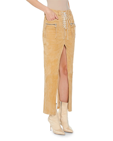 UNRAVEL Faux-Suede Deconstructed Lace-Up Skirt