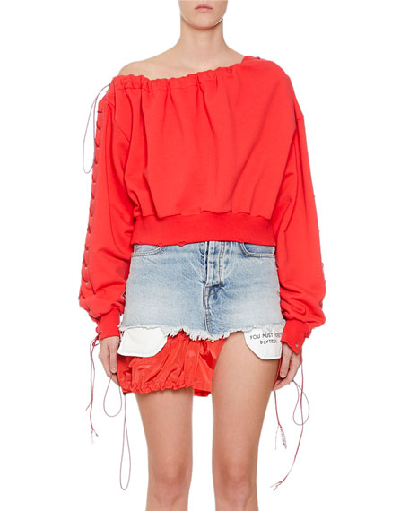 UNRAVEL French Terry Asymmetric Lace-Up Top
