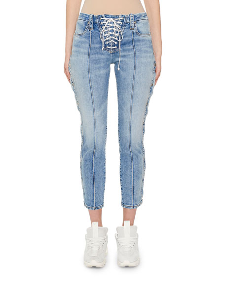 UNRAVEL Stone-Washed Button-Side Skinny Jeans